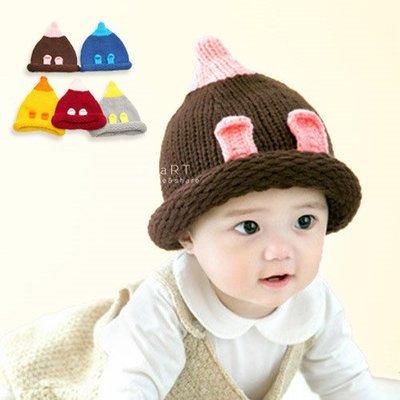 【可愛村】 兔耳配色針織保暖帽 童帽 毛線帽
