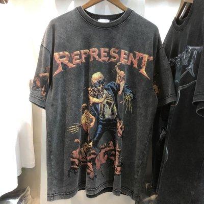 【名創優品】 潮牌Represent夏季新款個性骷髏印花水洗做舊嘻哈寬松男士短袖T恤