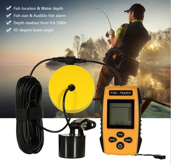 【玩具貓窩】便攜式聲納水下魚情探測器 探漁器 渾水型可視聲納 探魚器12米線