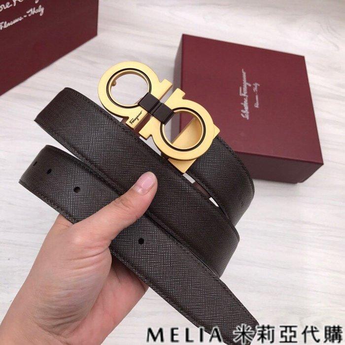 Melia 米莉亞代購 SALVATORE FERRAGAMO 菲拉格慕 19ss 春季新品 雙面用 柔軟結實 金色頭扣