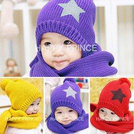 【瑜瑜小屋】韓版((亮彩五角星))保暖帽+圍巾二件組