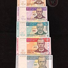 Malawi 馬拉維 2004-2007年 K10,20,50,100,200 (1套 5張) 全新 UNC