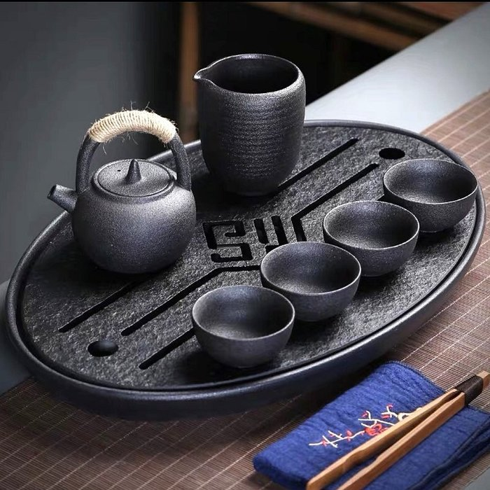 【睿智精品】石茶盤 功夫茶盤 茗茶 泡茶石盤 烏金石茶盤(GA-4411)