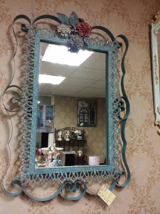 美生活館---全新 工業 Loft 南法 Zakka 雜貨 風格 玫瑰花 皮體 古典藍刷舊白掛鏡 玄關鏡 民宿 店面