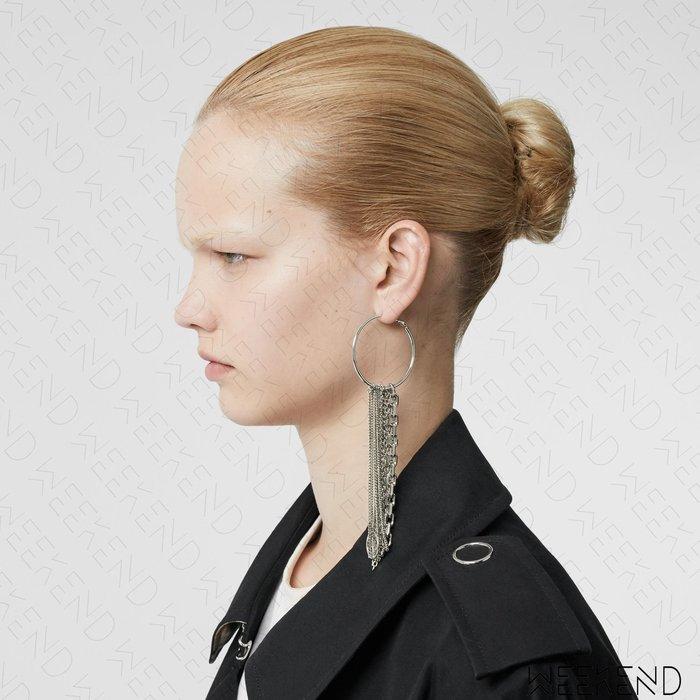 【WEEKEND】 BURBERRY 大尺寸 圓環 鍊條 一對 耳環 銀色