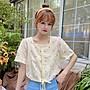 小香風 短袖T恤 時尚穿搭 小清新超仙森系方領碎花套頭 顯瘦 短袖襯衫上衣女學生
