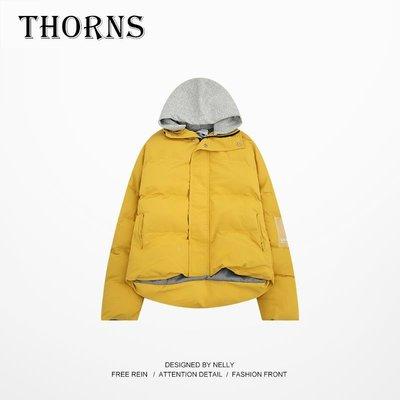 【THORNS】棉服男女bf風加厚棉襖嘻哈潮牌運動寬松街頭撞色拼色日系外套棉衣