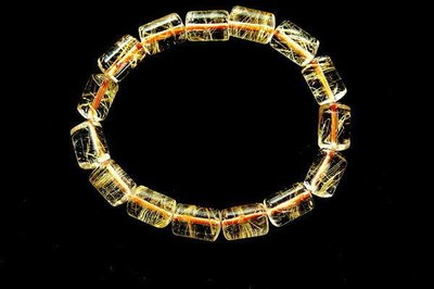 □§Disk的天然水晶§□【升官發財】正白底24K黃金鈦晶桶形珠手珠