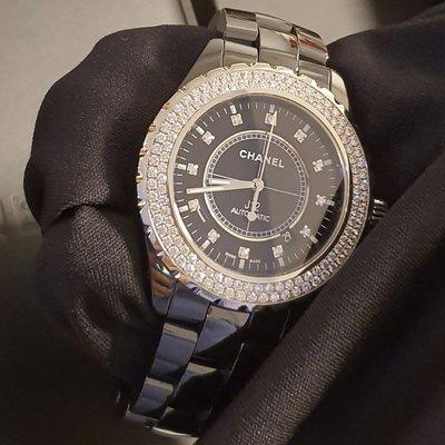 Chanel J12 黑陶瓷 原鑲鑽錶 12點鑽 專櫃購買 42mm