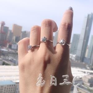 1克拉仿真鉆戒女六爪情侶對戒鋯石戒指tz7426