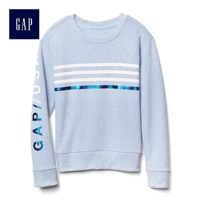 正品 Gap女童 立體亮片圖案長袖套頭休閒上衣 淺藍色/120cm