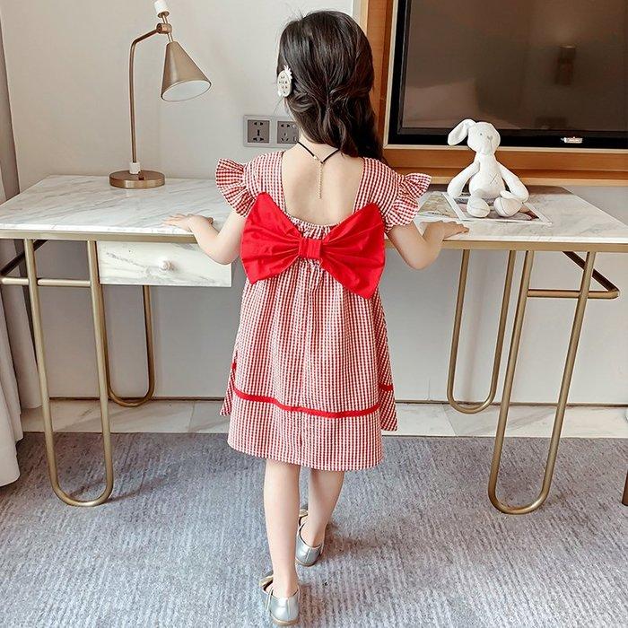 •*~ 辣媽咪衣飾小舖 ~*•❤童裝系列❤K540496韓版大童夏款甜美小女孩洋氣露背時髦格子洋裝