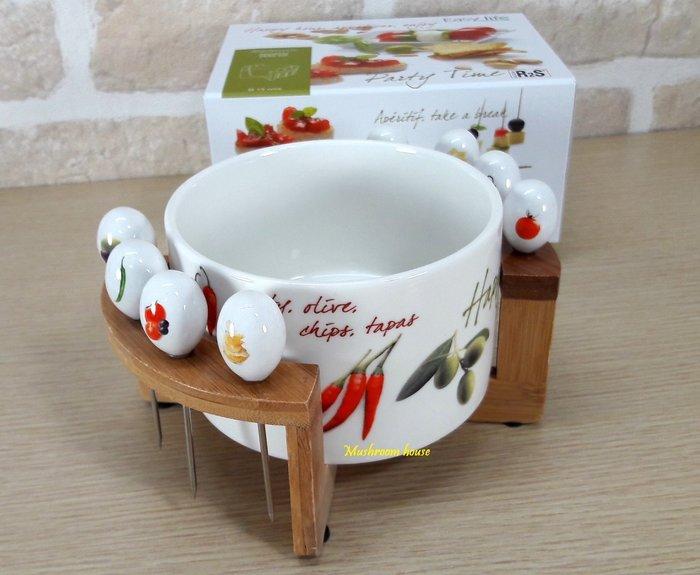 點點蘑菇屋 義大利Easy Life蔬果系列點心碗含竹製架子與8支叉子 沙拉碗 開胃菜碗 小菜碗 附精美禮盒 現貨