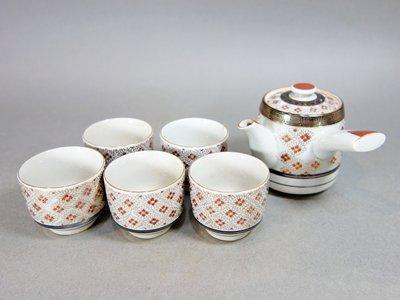 『華寶軒』日本茶道具 昭和時期 九谷陶榮 花草紋 茶器組 急須/茶杯