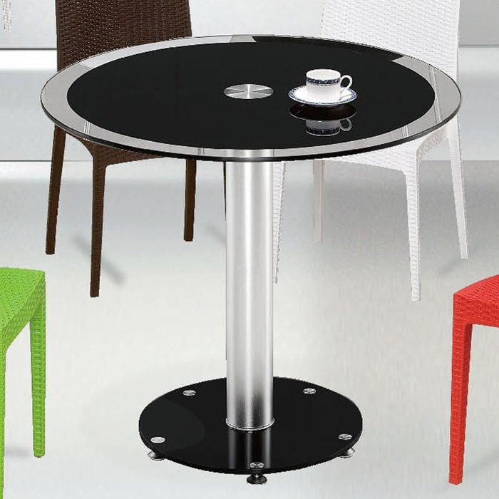 【優比傢俱生活館】19 便宜購-80黑色2.6尺玻璃圓桌/餐桌/休閒桌 SH820-1
