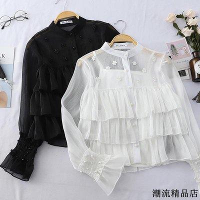 春裝新款優雅宮廷風層層荷葉邊氣質襯衫立領釘珠打底衫上衣女