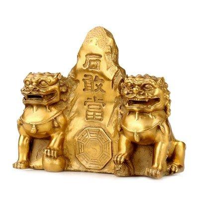 好物多商城 風水黃銅雙獅石敢當擺件石敢當擺設補缺角家居銅工藝品銅獅
