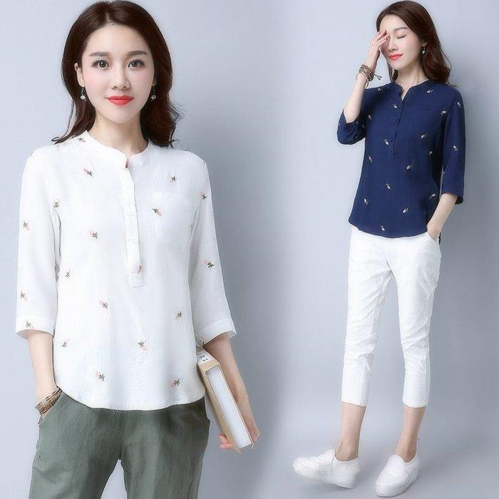 創意夏季女裝 七分袖女士棉麻上衣夏新款大碼打底 百搭女裝小衫韓版寬松t恤