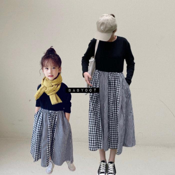 🙋秋款母女裝✨ 日系 童裝 女童洋裝 兒童 洋裝 長袖 連身裙 裙子 格紋拼接裙 親子 成人女生 連身衣褲 長裙