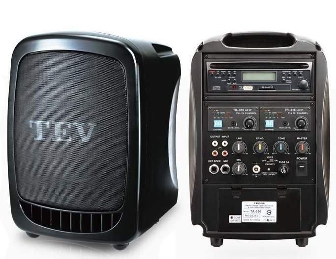 【名人樂器全館免運】TEV TA-330 手提式 無線 擴音機/擴音器 含CD/USB播放模組16個頻點 2支無線麥克風