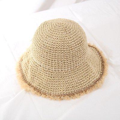 草帽盆帽-百搭毛邊可摺疊遮陽女帽子2色73vq6[獨家進口][米蘭精品]