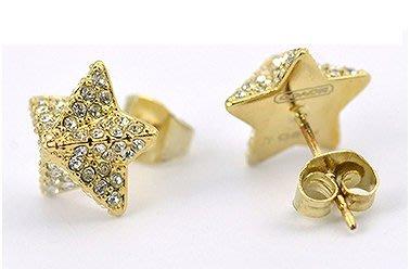 ☆青兒小公主☆COACH 96343 PAVE PYRAMID STAR EARRINGS 立體星星水鑽耳環