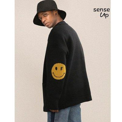 【集千】SENSEUP19冬韓國GRAVER設計師品牌笑臉圖案針織開衫