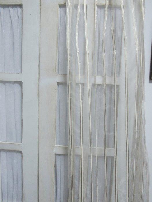 [W064]窗簾 窗紗  No.9白條白透紗  特價出清  無接縫紗 時尚 簡約