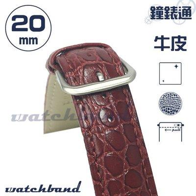 【鐘錶通】C1-32BR《簡約系列》鱷魚小花紋(手拉錶耳)-20mm 寶石紅   /手錶錶帶/鱷魚小花紋(手拉錶耳)/牛皮錶帶/