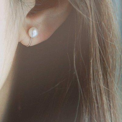 925銀天然珍珠簡約氣質無耳洞耳夾耳針耳環