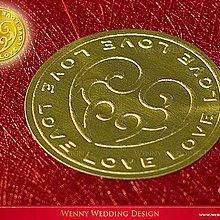 葳尼獨創婚禮設計*獨家設計首選優質LOVE 金色/銀色貼紙