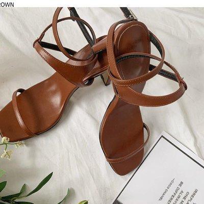 正韓 DABAGIRL Heeled Ankle Strap Sandals 黑色綁帶羅馬高跟鞋 24.5號