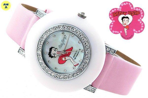 @(六四三精品)@BETTY BOOP(真品)粉紅板材外框鑽錶.晶鑽外框及錶耳.粉紅錶帶