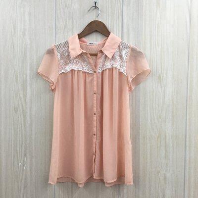 【愛莎&嵐】H2O 女 橘粉色拼接蕾絲短袖上衣 / F 1080320
