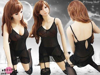 *夢夢衣鋪*(B88008)100%實品拍攝 黑色 吊襪帶 連體 性感 薄紗 馬甲 造型睡裙