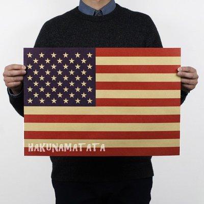 ~貼貼屋~美國國旗 懷舊復古 牛皮紙海報 壁貼 店面裝飾  569