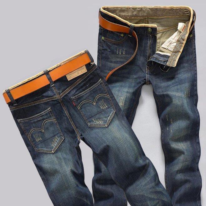 爆款直筒修身複古色男式牛仔褲 (兩件八折)