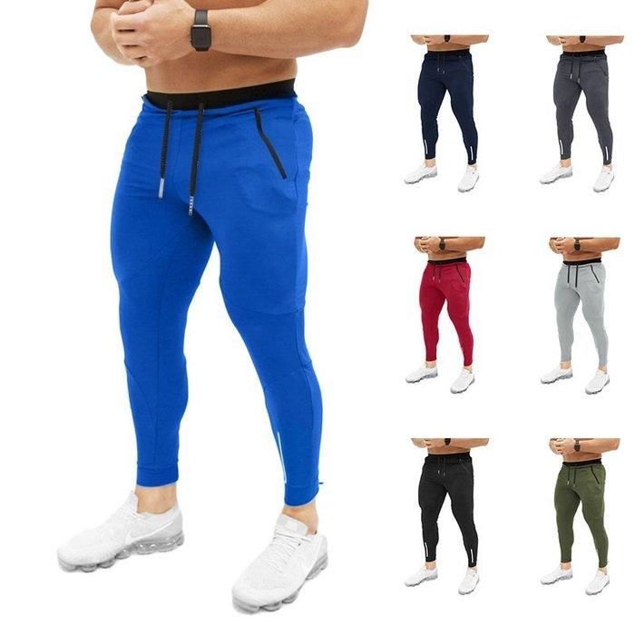 『潮范』  N4 歐碼修身純色抽繩口袋拉鏈設計小腳褲 休閒運動褲 鉛筆褲 休閒長褲