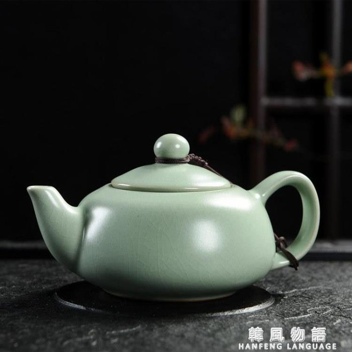 手工汝窯茶壺開片大號汝瓷可養小單壺冰裂西施壺陶瓷功夫茶具