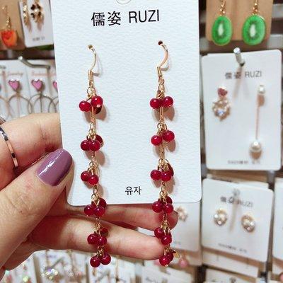 飾品2018新款 韓國個性簡約紅色珠子流蘇長款耳環女甜美氣質耳釘耳飾