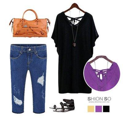 享瘦衣身中大尺碼-簡約時尚-【B1162】V領綁帶造型長版上衣