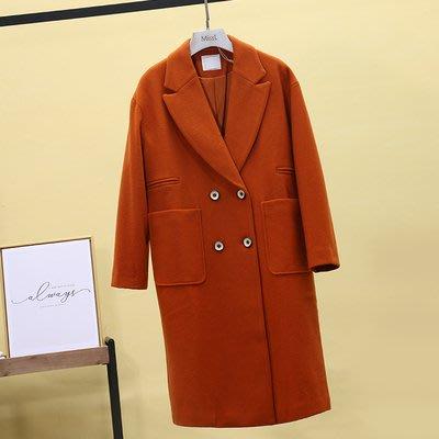東大門平價鋪  熱銷款  紫系列 2019秋冬雙排扣羊毛外套, 中長款羊呢大衣