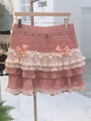 【莉莎小屋】正韓 春夏新品(預購)  韓國連線代購-雙粉蝴蝶結蛋糕蕾絲裙褲(現貨-粉色)👚👖E200512