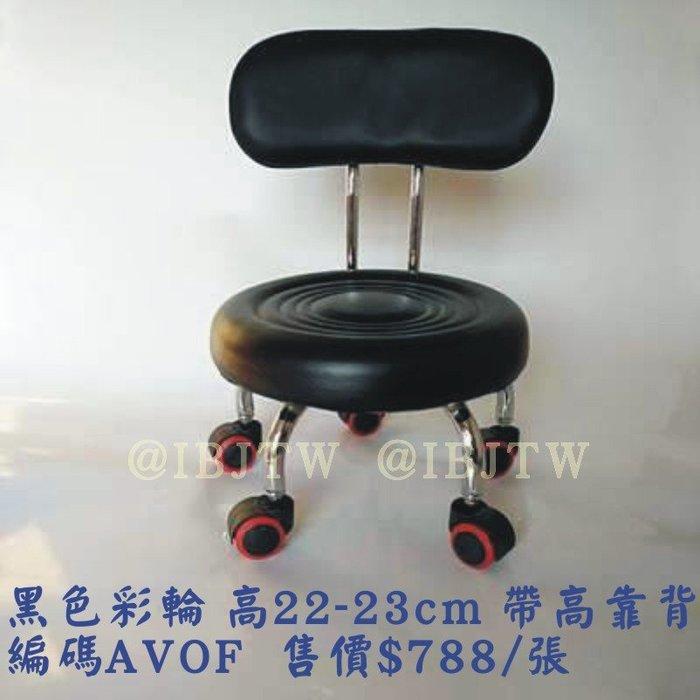 黑/紅 彩輪高靠背 椅高22-23cm 帶輪凳子 小凳子【奇滿來】矮皮凳 沙發凳子 兒童學步凳 滑輪凳 神器凳 AVOF