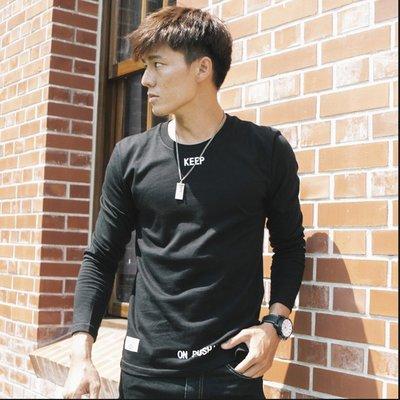 ◎豬豬特賣◎.【9950】KEEP ON PUSHIN.台灣製造圓領長T 黑L.黑XL