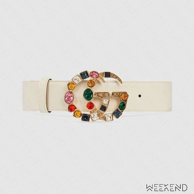 【WEEKEND】 GUCCI Double G 鑲鑽 4公分 皮革 腰帶 皮帶 白色 513183
