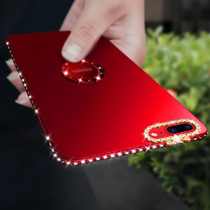 蘋果7plus手機殼6s女款iPhone硅膠plus支架7新款軟8磨砂水鉆6六七八防摔仙女網紅ins同款超薄紫紅色全包