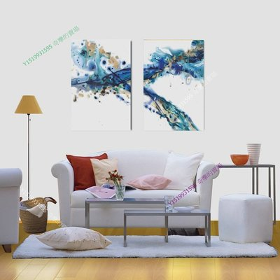 【35*50cm】【厚1.2cm】藍色律動-無框畫裝飾畫版畫客廳【WK_240106_139】2聯畫