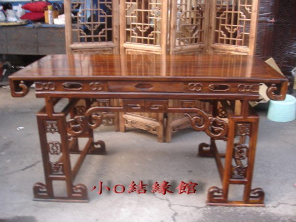 小o結緣館仿古傢俱........154cm國畫桌'''餐桌'''書桌(雞翅木)