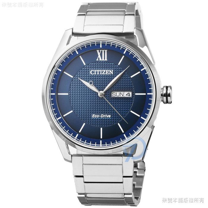 【柒號本舖】 CITIZEN星辰ECO-DRIVE光動能鋼帶男錶-藍 / AW0081-89L